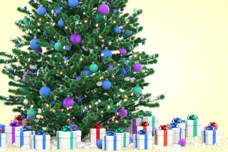 christmas tree illustration: Christmas tree with gift boxes, 3D illustration