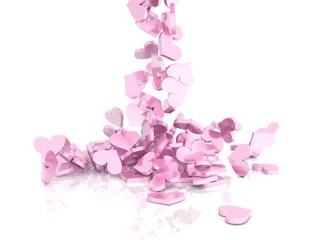 Falling shiny hearts on white background