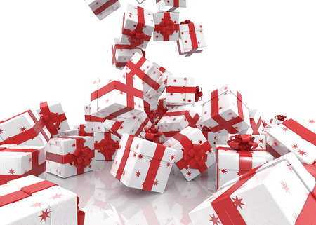 Falling Christmas gift boxes on white background