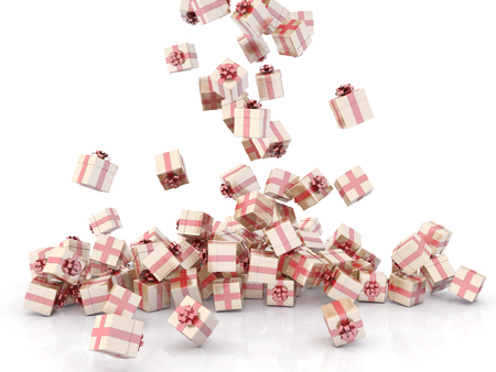 Falling gift boxes on white background Stock Photo
