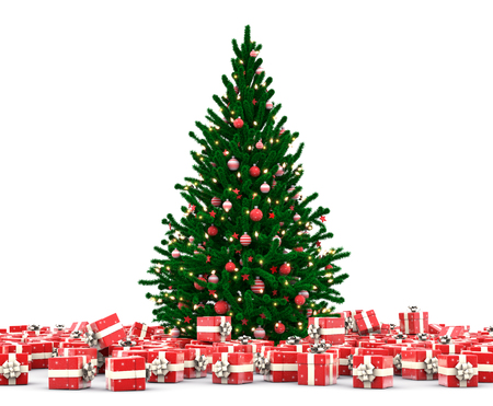 Christmas tree with gift boxesFalling Christmas gift boxes isolated on white background Stock Photo