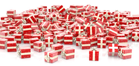 Christmas gift boxes isolated on white background Stock Photo
