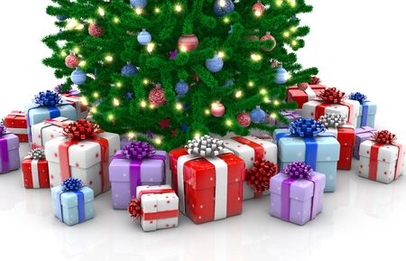 Christmas tree with gift boxes isolated Stock Photo