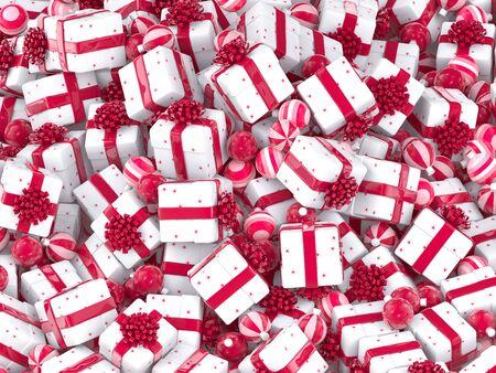 Christmas balls and gift boxes Stock Photo