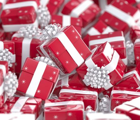Christmas gift boxes with bows and ribbons. Festive background Stock Photo