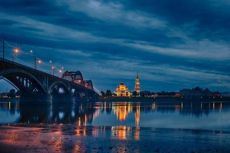 the volga river: Rybinsk, Russia  at evening Stock Photo