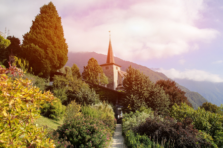 spire: Church at Geneva Lake Riviera in Montreux, Vaud canton, Switzerland Stock Photo