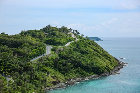 Panoramic view at windmill viewpoint. It overlooks Yanui Beach with beautiful sandy beaches and Promthep Cape.