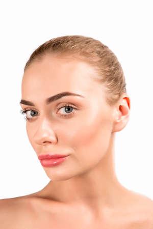 Portrait of a beautiful female girl model big lips on white background spa