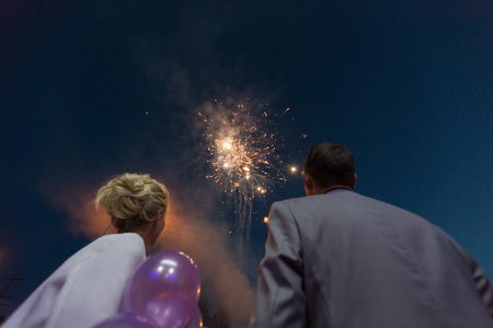 Lover watching fireworks in the sky Stock Photo