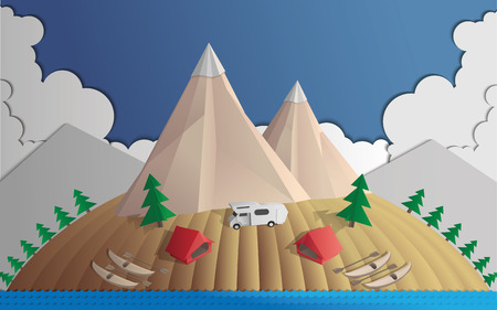Camping in the mountains Vector