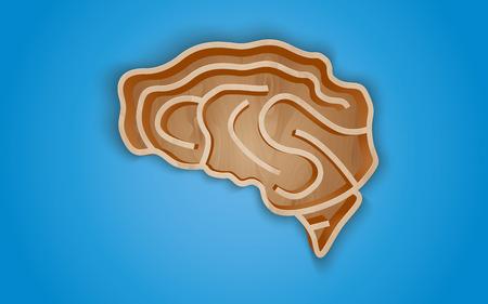 �tag�re bois: �tag�re en bois sous la forme du cerveau sur le bleu