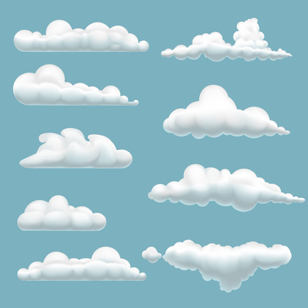 set of cartoon clouds on a blue background Vettoriali