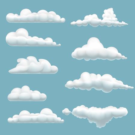 meteo: set di cartone animato nubi su sfondo blu