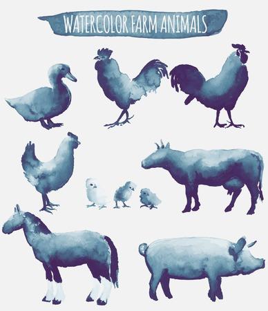 동물: 수채화 농장 동물의 벡터 설정 그림