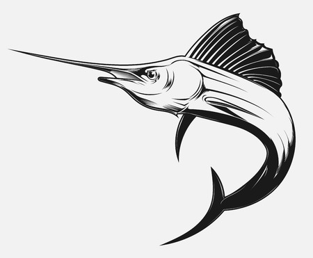 marlin: black and white vector illustration of a swordfish Illustration