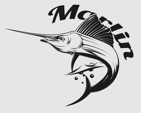 barca da pesca: logo vettoriale pesca in mare con il salto Marlin o pesce spada