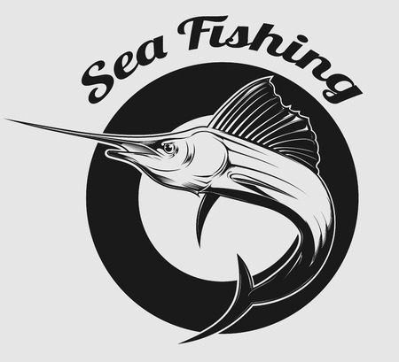 barca da pesca: vettore emblema di pesca in mare e pesce spada o Marlin su di esso Vettoriali