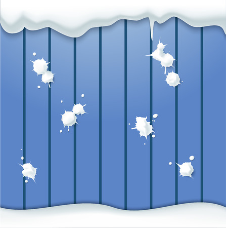 vector set of snowballs thrown into the fence Ilustração