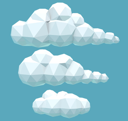 cloud computing technologies: vector illustration of a set of polygonal volumetric clouds