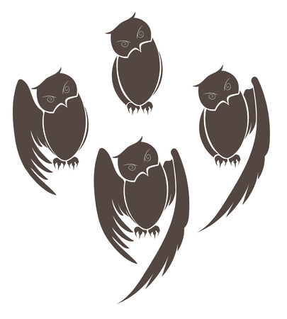 vector illustration of a set of owls with open wings