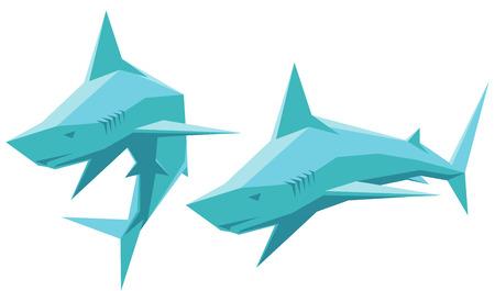 shark cartoon: ilustración vectorial de dos tiburones simples aislado