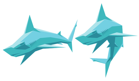 hammerhead: vector illustration of two hammerhead sharks isolated Illustration