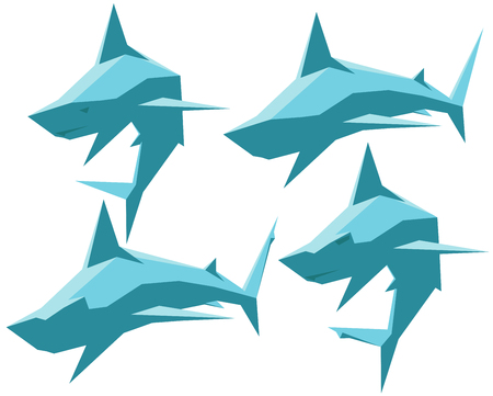 isolated  vector set of sharks and hammerhead sharks