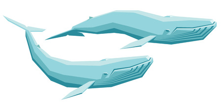 baleine bleue: isolated vector set of a blue whale