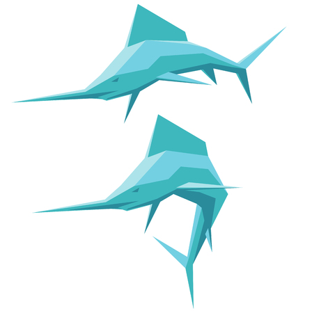 deep sea fishing: vector illustration of two swordfish isolated Illustration