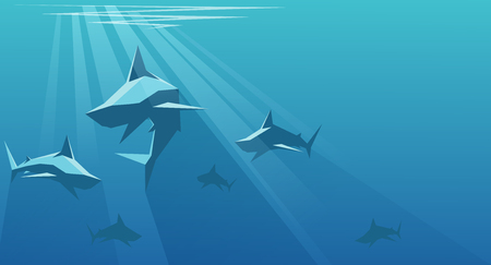 carnivores: vector illustration of shark swarms on the depth of the ocean