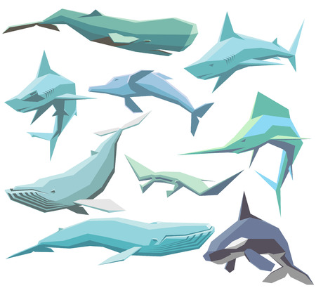 blue and white: vector set of isolated geometric polygon sea animals Illustration
