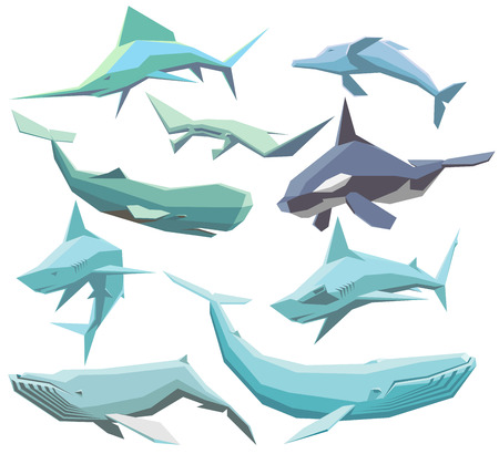 set of isolated geometric polygon sea animals Illusztráció