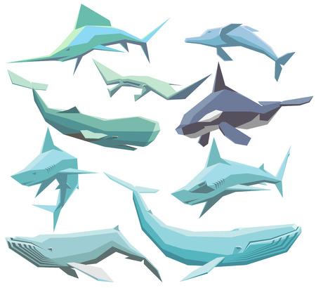 deep sea fishing: set of isolated geometric polygon sea animals Illustration