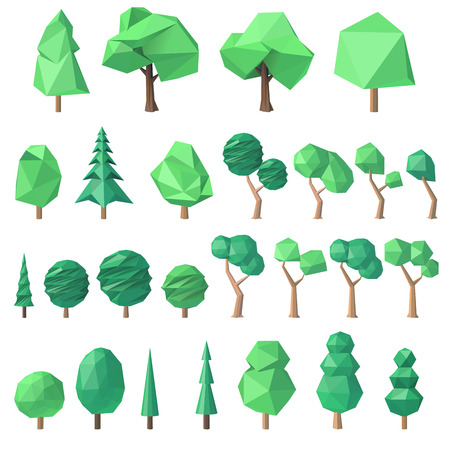 large collection of various polygonal, angular volumetric trees, illustration Illustration