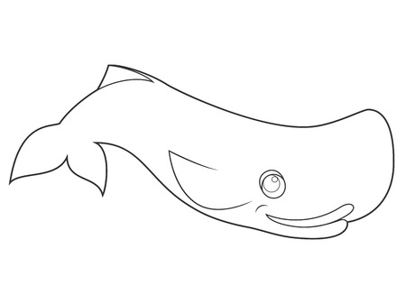 bleached: illustration of a whale on white background with black outline for kids and coloring book