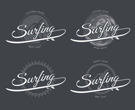 malibu: surfing with surfboard, palms trees, wave and sun in retro style on dark background, hand drawn lettering poster