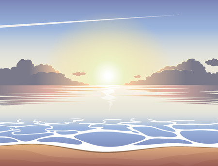 Morning sea beach at sunrise with waves, clouds and a plane flying in the sky, vector summer background, summer illustration, summer beach, summer poster Иллюстрация