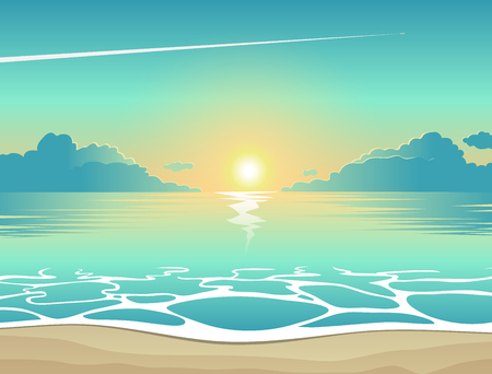 Summer background, vector illustration of the evening beach at sunset with waves, clouds and a plane flying in the sky, seaside view poster Vettoriali