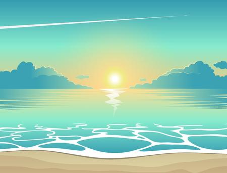 Lato w tle, ilustracji wektorowych plaży wieczorem o zachodzie słońca w fale, chmury i samolot latający na niebie, morskie Widok plakat
