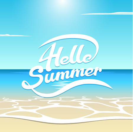 Vector summer illustration sea beach with wave, sun and clouds, hello summer lettering is hand-drawn, white letters on summer background