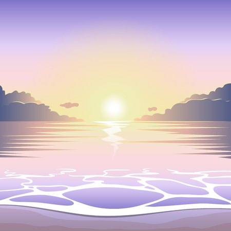 beach sunset: Sunset on the beach with surf, waves and sun, vector summer background, summer illustration, summer beach, summer poster