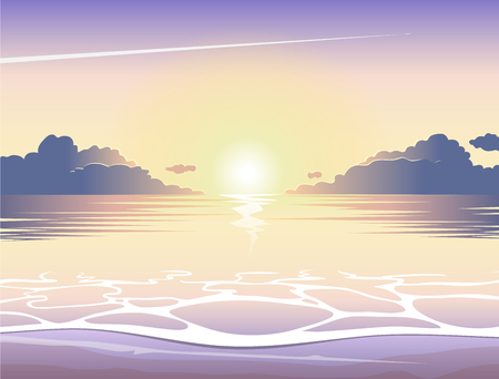 Evening sea beach at sunset with waves, clouds and a plane flying in the sky, vector summer background, summer illustration, summer beach