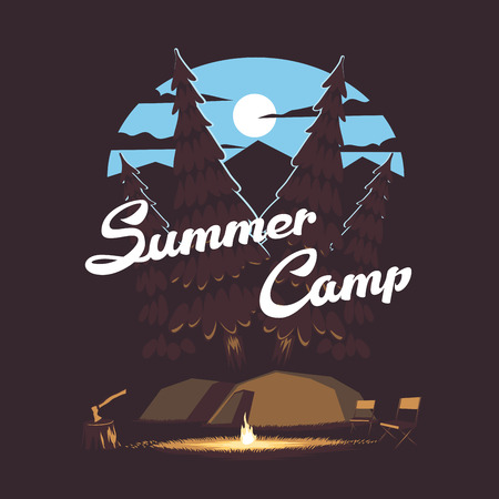 bonfire night: summer illustration summer camp with a campfire and tents on the background of the night forest, mountains and the moon