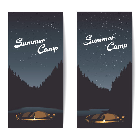 bonfire night: Set of summer camp banners at night with bonfire, axe, tents amid the forest and river or lake, summer background