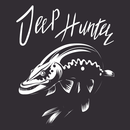 brutal: fishing illustration with lettering deep hunter, brutal scary pike on the dark background for poster, prints and typographic design Illustration