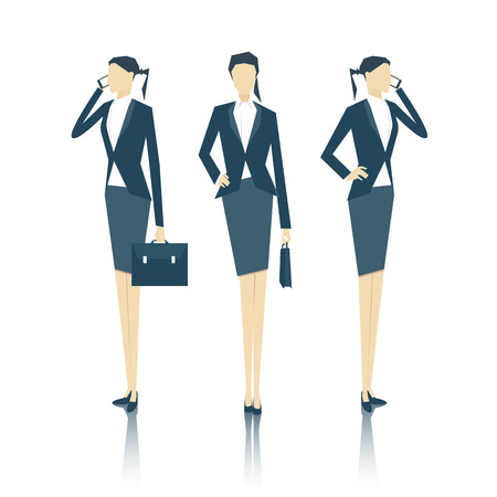 businesswoman skirt: vector set of business people standing face and side with a briefcase and talking on a cell phone, business vector illustration