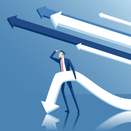ambitions: Business concept ambitions, volition and purpose, vector illustration of standing businessman looking into the distance with arrows or pointers on blue background