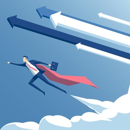 illustration vectorielle super-homme d'affaires et super employé volant dans le ciel avec des flèches et des nuages, concept d'entreprise le succès, la croissance et la détermination