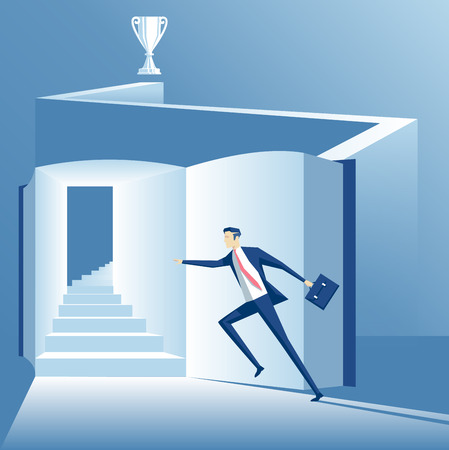 way up: Business concept the way to success is through knowledge, worker runs up the stairs to success across the book Illustration